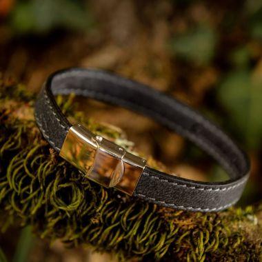 Bracelet en cuir de Cerf - Un tour gris