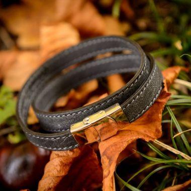 Bracelet en cuir de Cerf - Deux tours Gris