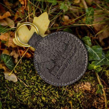 Porte-clés gris en cuir de sanglier