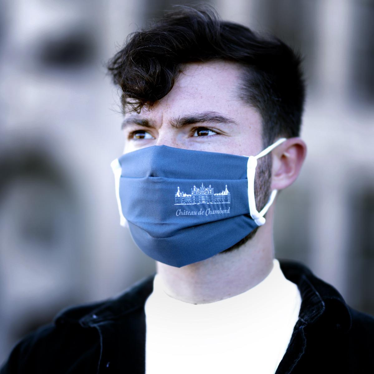 Masque en tissu gris lavable